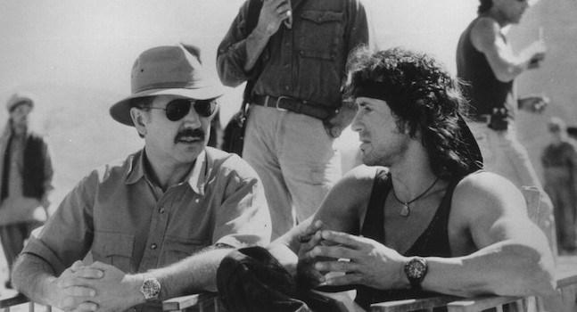 David Morell bersama Sylvester Stallone tatkala perfileman Rambo First Blood ~ foto moviesinfocus